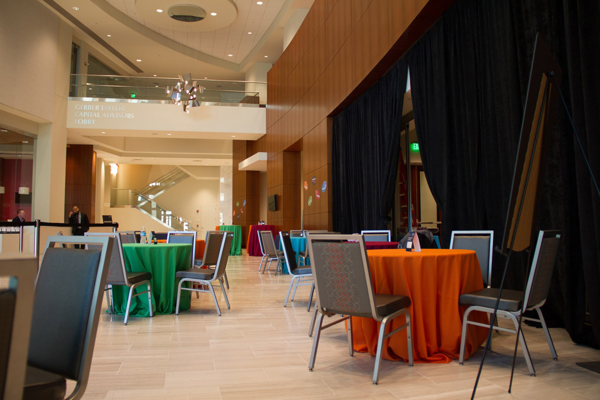 Lobby with tables and bright tablecloths