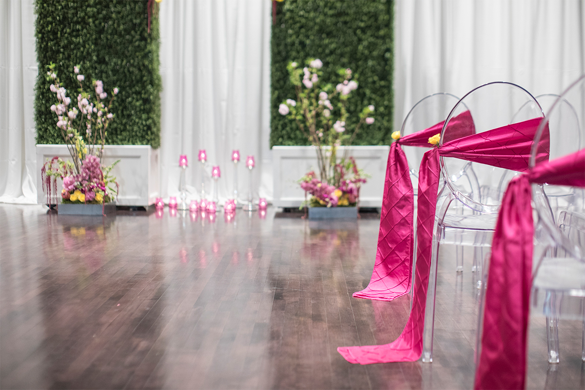 Reception Hall set up for wedding ceremony