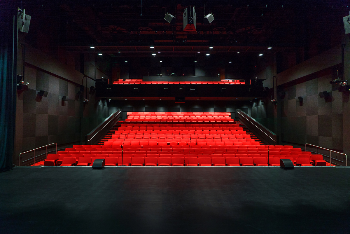 Halloran Centre Theatre, view of red theatre seats from stage